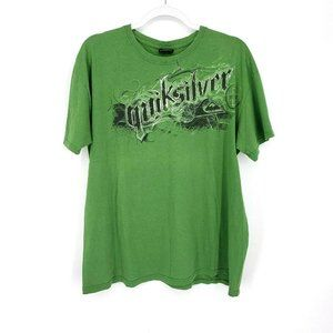 Quicksilver Mens Green Graphic Front Logo T-Shirt